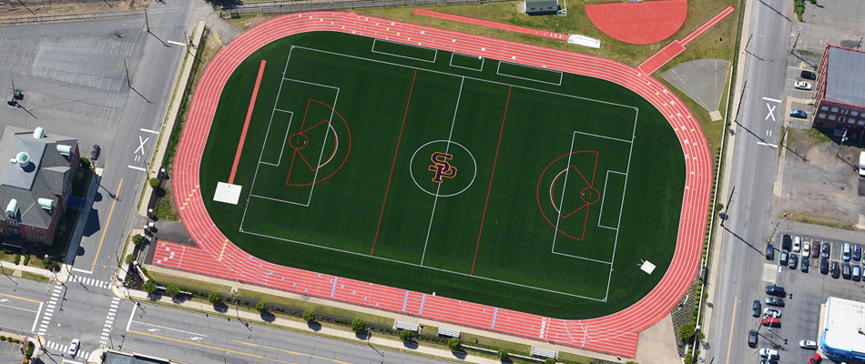 New Field Close-Up At Scranton Prep School, Scranton PA – NEPA Aerial Photography